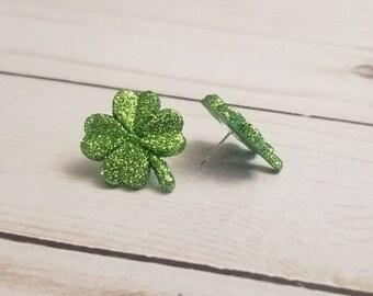 Glitter Light Green Shamrock Earrings | St Patrick's Day Earrings | Irish Pride | St Patty's Day | Shamrock Jewelry | Stud Earrings