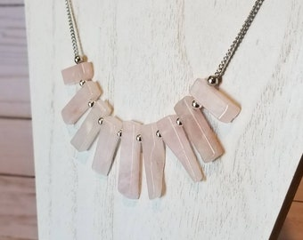 Rose Quartz Stick Point Crystal Necklace | Rose Quartz Stone Jewelry | Gemstone Necklace | Statement Jewelry | Gifts For Her | Quartz
