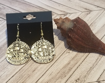 Gold Doubloon Pirate Ship Earrings | Pirate Dangle Earrings | Pirate Dubloons | Pirate Jewelry | Pirate Ship Jewelry