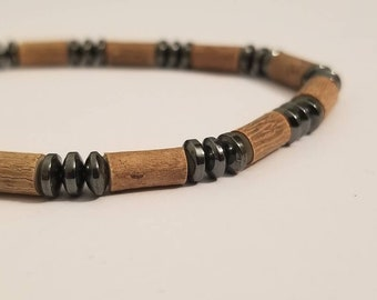 Pure Hazelwood and Hematite Mens Stretch Bracelet | Real Hazelwood | Healing Jewelry | Mens Natural Jewelry | Mens Hazelwood Jewelry