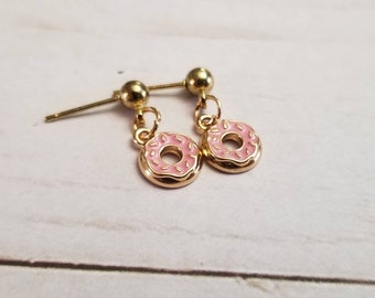 Tiny Donut Earrings | Dainty Jewelry | Food Jewelry | Donut Jewelry | Foodie Gifts | Donut Gifts | Tiny Earrings | Food Accessories