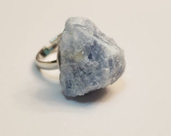 Raw Blue Calcite Ring | Crystal Stud Ring | Crystal Jewelry | Gemstone Jewelry | Raw Stone Jewelry