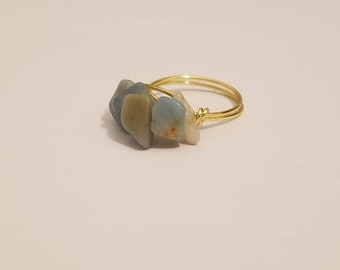 Stackable Gemstone Ring | Amazonite Ring | Gemstone Jewelry | Stackable Rings | Gemstone Ring in Gold
