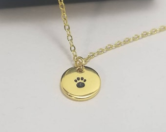 Tiny Gold Paw Print Necklace | Minimalist Necklace | Metal Stamped Necklace Charm | Paw Print Jewelry | Tiny Jewelry | Dainty Necklace