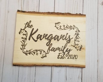 Personalized Family Name Wood Slice Decor | Custom Wood Decor | Family Gifts | Rustic Decor | Engraved Wood Decor | Last Name | Family Est.
