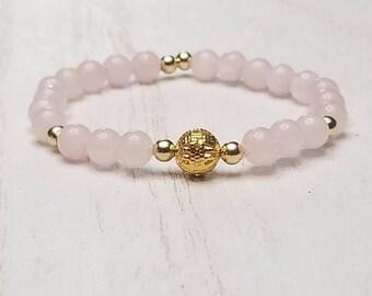 Gold Rose Quartz Stretch Bracelet | Rose Quartz Jewelry | Quartz Crystal | Gemstone Jewelry | Pink Rose Quartz | Gifts For Her