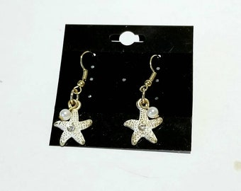 Starfish Dangle Earrings | Beach Jewelry | Ocean Jewelry | Marine Life Accessories | Summer Jewlry | Dangling Starfish Pearl Earrings