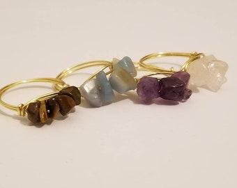 Stackable Gemstone Rings Set of 4 | Amethyst | Tiger Eye | Amazonite | Rose Quartz | Gemstone Jewelry