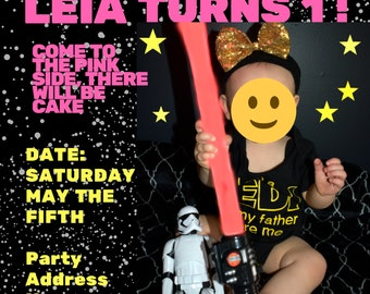 Custom Girls Star Wars Birthday Invitation | Star Wars Party Invitations | Star Wars Birthday | Star Wars Party