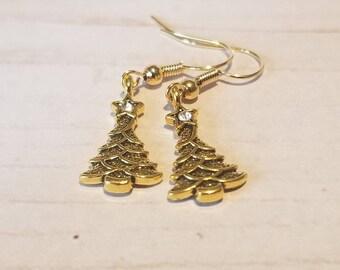 Dainty Gold Christmas Tree Earrings   Small Christmas Jewelry   Holiday Jewelry   Christmas Party Jewelry   Stocking Stuffer   Festive