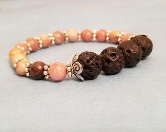 Rhodonite and Lava Stone Stretch Bracelet | Gemstone Bracelet | Healing Bracelet | Healing Jewelry