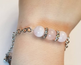 Rose Quartz Chain Bracelet | Key Charm | Gemstone Bracelet