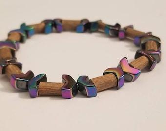 Pure Hazelwood Arrow Hematite Mens Stretch Bracelet | Real Hazelwood | Healing Jewelry | Mens Natural Jewelry | Mens Hazelwood Jewelry