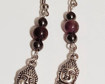 Amethyst Buddha Earrings | Gemstone Jewelry | Amethyst Jewelry | Buddha Jewelry | Buddha Earrings | Gemstone Earrings