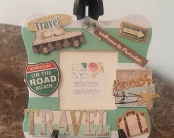Travel Beach Scrapbook Frame | Table Top Frames | Vacation Frame | Decorative Frame | Roadtrip Frame | Traveling | Adventure | Picture Frame