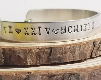 Personalized Roman Numeral Date Bangle | Birthday Bangle | Roman Numeral Jewelry | Birthdate | Birthstone