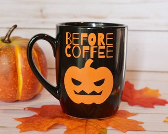 Before Coffee - After Coffee Halloween Mug | Fall Mugs | Halloween Mugs | Pumpkin Mug | Cute Fall Mug | Halloween Decor | Jack O Lantern Mug