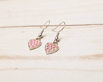 Pink Polka Dot Heart Earrings | Valentine's Day Earrings | Valentine's Day Accessories | Heart Jewelry | Heart Earrings | Holiday Accessory