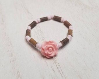 Pure Hazelwood Infant Kids Pink Rose Bracelet Anklet | Teething Jewelry | Excema Remedy | Natural Remedies | Hazel Wood | Baby Jewelry