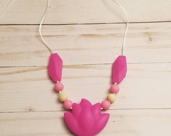 Pink Lotus Teether Necklace For Mom | Baby Teether | Teething Accessories | Baby Shower Gifts | Teething Toys | Teething Necklace | Infant