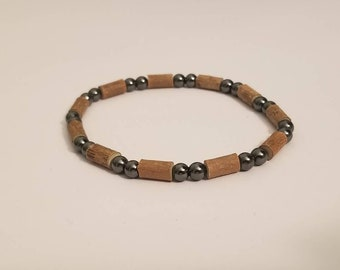 Pure Hazelwood and Round Hematite Mens Stretch Bracelet | Real Hazelwood | Healing Jewelry | Mens Natural Jewelry | Mens Hazelwood Jewelry