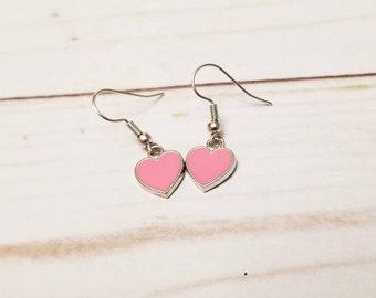 Pink Heart Earrings | Valentine's Day Earrings | Valentine's Day Accessories | Heart Jewelry | Heart Earrings | Holiday Accessories | Dainty