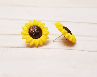 Sunflower Post Earrings | Flower Earrings | Sunflower Jewelry | Sunflower Accessories | Flower Accessories | Spring Summer Jewelry