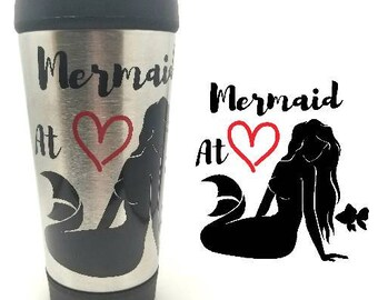 Mermaid at Heart Coffee Tumbler | Mermaid Tumbler | Mermaid Mug | Mermaid Coffee To Go Cup