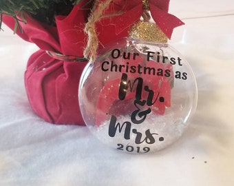 Our First Christmas As Mr & Mrs | 3D Couples Onament | Marriage Ornament | Holiday Accessories  Wedding Ornament | Stocking Stuffers | 2019