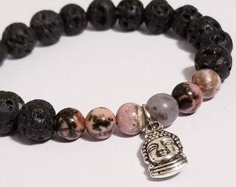 Lava Stone Rhodonite Buddha Bracelet | Black Lava Stone | Rhodonite Jewelry | Buddha Jewelry | Buddhism Bracelet