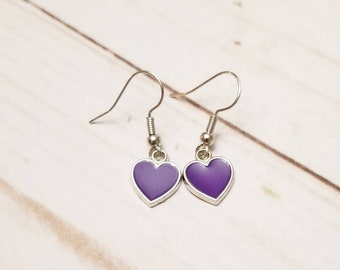 Purple Heart Earrings | Valentine's Day Earrings | Valentine's Day Accessories | Heart Jewelry | Heart Earrings | Holiday Accessories