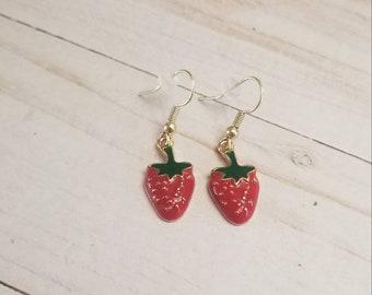 Strawberry Fruit Earrings | Summer Jewelry | Summer Accessories | Strawberry Accessories | Strawberry Jewelry | Fruit Accessories