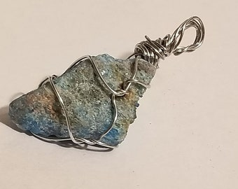 Raw Blue Apatite Stone Pendant | Gemstone Jewelry | Gemstone Pendant