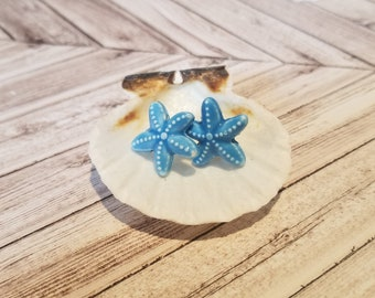Blue Starfish Stud Earrings | Starfish Jewelry | Sea Star Jewelry | Beach Earrings | Beach Jewelry | Ocean Jewelry | Ocean Earrings