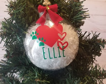 Personalized Pet Name Ornament   Dog Ornament   Paw Print Ornament   Custom Pet Christmas Ornament   Pet Stocking Stuffers   Gifts For Pets
