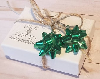 Green Christmas Gift Bow Earrings | Bow Jewelry | Gift Bow | Present Bow | Holiday Earrings | Stocking Stuffer | Festive Jewelry | Dangle