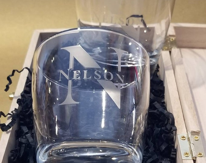 Featured listing image: Personalized Monogram Whiskey Glass | Last Name| Etched Whiskey Glass | Custom Barware | Custom Liquor Glasses | Mens Gift | Last Name