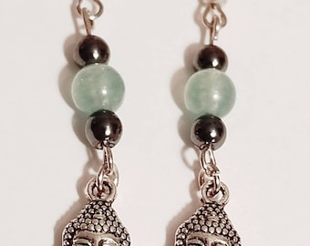 Aventurine Buddha Earrings | Gemstone Jewelry | Aventurine Jewelry | Buddha Jewelry | Buddha Earrings | Gemstone Earrings