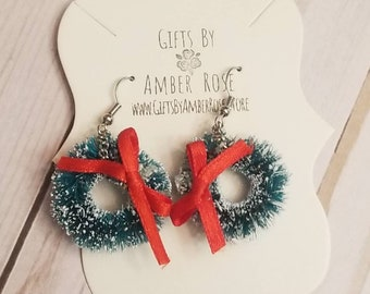 Christmas Wreath Earrings | Holiday Accessories | Christmas Wreath | Red Bow | Christmas Earrings | Festive Jewelry | Christmas Jewelry