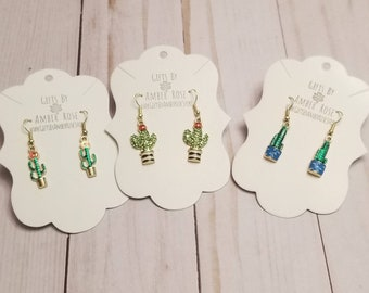 Green Cactus Earrings | Cactus Accessories | Cactus Jewelry | Cacti Jewelry | Cacti Earrings | Dainty Jewelrly | Stocking Stuffers
