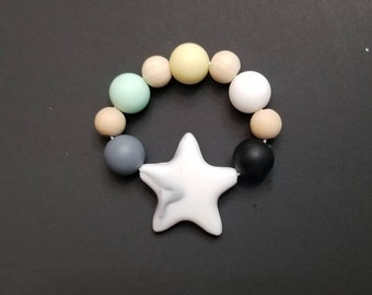 Multicolored Neutral Baby Star Teething Ring | Teether Toys | Teething Accessories | Baby Shower Gift | Infant Gift | Teething Toy
