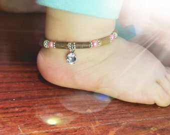 Pure Hazelwood Swarovski Crystal Baby Anklet Pink | Baby Bling | Infant Jewelry | Teething Jewelry | Baby Teething Relief | Natural Remedies