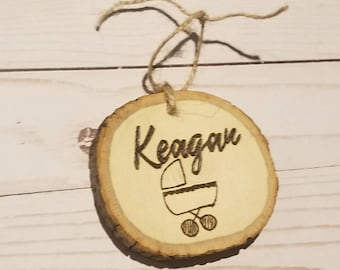 Personalized Baby Name Wood Slice Ornament | Woodburned Ornament | Custom Baby Ornament | Baby Name Gifts | Stocking Stuffers | Name Gifts