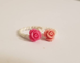 Simple Rose Stretch Ring | Beaded Ring | Simple Rose Ring | Rose Stretch Ring | Dainty Jewelry