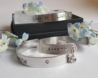 Personalized Coordinates Bangle Bracelet | Metal Stamped Jewelry | Coordinates Jewelry | Personalized Bangle Bracelet | Swarovski Crystal
