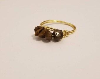 Stackable Gemstone Ring | Tiger Eye Ring | Stackable Ring | Gemstone Jewelry | Tiger Eye Jewelry
