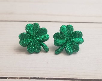 Glitter Green Shamrock Earrings | St Patrick's Day Earrings | Irish Pride | St Patty's Day | Shamrock Jewelry | Stud Earrings | Post Earring