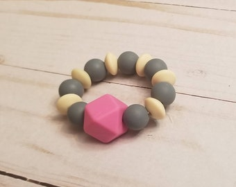 Grey Pink Baby Teething Ring | Baby Teether | Baby Toys | Teething Accessories | New Baby Gift  | Baby Shower Gift | Infant Toys | Teether