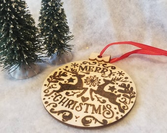 Woodburned Reindeer Merry Christmas Wooden Ornament   Pyrography Ornament   Ornament Exchange   Wooden Ornament   Handmade Ornament