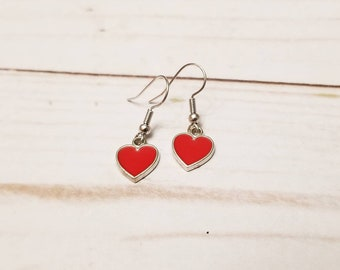 Red Heart Earrings | Valentine's Day Earrings | Valentine's Day Accessories | Heart Jewelry | Heart Earrings | Holiday Accessories | Dainty